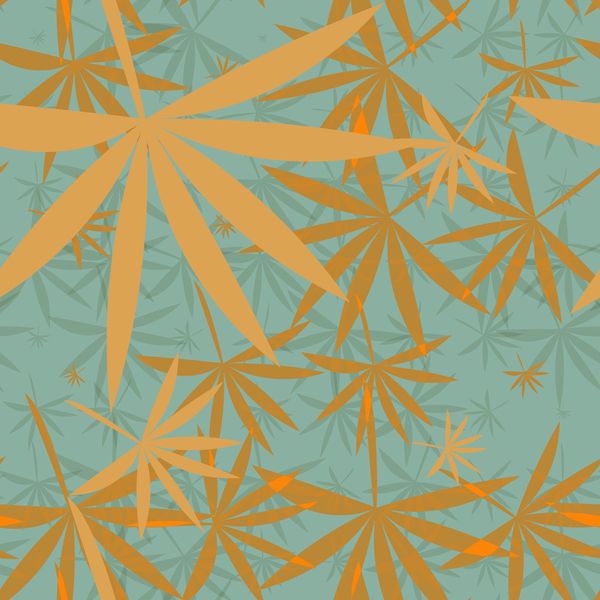 Bamboo Leaves 1: A colourful backdrop, texture, pattern or fill with leaf shapes reminiscent of bamboo or marijuana.