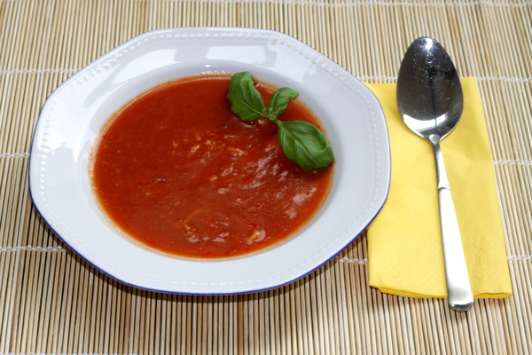 Tomato soup: Tomato soup decorated with fresh basil