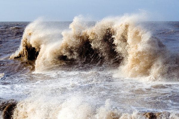 Big Wave 1: A large, wave whipped up by gale force winds and a high tide at Anchorsholme, near Blackpool, UK.