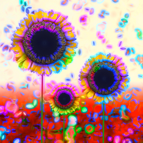 Trio of  Arty Sunflowers: A wild arty effect on a trio of sunflowers with falling petals. You may prefer:  http://www.rgbstock.com/photo/mPlABv6/Trio+of+Sunflowers  or:  http://www.rgbstock.com/photo/2dyVMVZ/Sunflower+Reflection