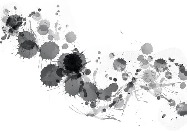 Black Splats: Black paint or ink splats.