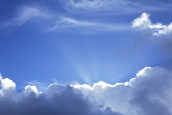 Radiant cloud: Cloud with sunbeams in England.