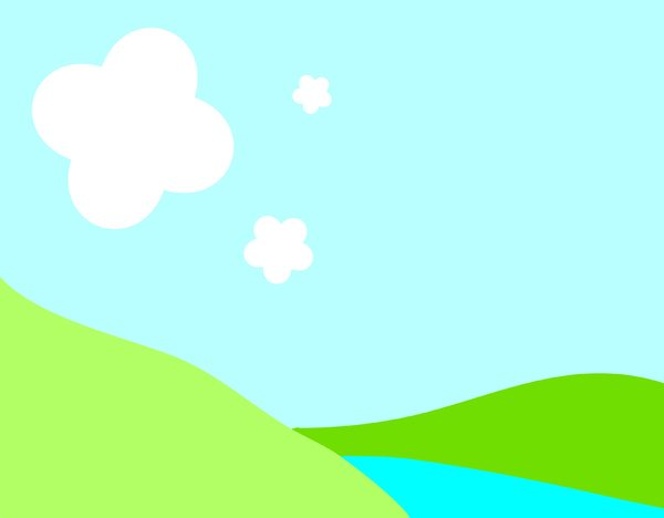 Hills and Clouds 2: A cartoon illustration of green hills, a blue sky, white clouds and a stream or lake. You may prefer:  http://www.rgbstock.com/photo/nUn8Jd8/Summer+Background  or:  http://www.rgbstock.com/photo/oS9uBYI/Hills+and+Clouds