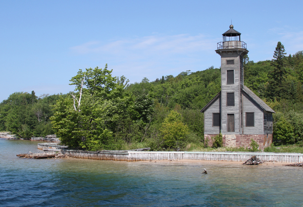 Old lighthouse: An old disused lighthouse on the shores of Lake Superior, Michigan