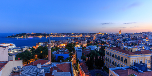 Istanbul Twilight: View across the Galata district toward historic Istanbul