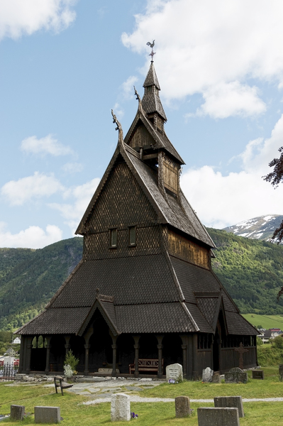 Ancient church: Hopperstad Stave Church, built around the year 1130, Vik, Norway. Photography of the exterior of this site was freely permitted.