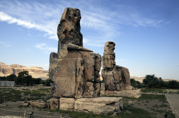 Colossi of Memnon: The Colossi of Memnon, Egypt. Two large stone statues of Pharaoh Amenhotep III.