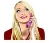 phone call: Woman making a phone call in vector art.