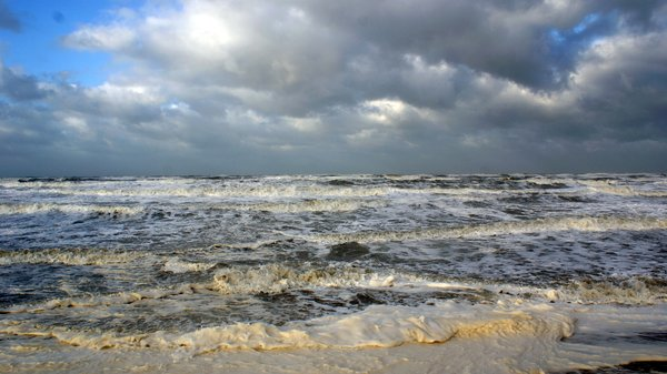 North sea: Zandvoort north Holland, Netherlands on a windy day