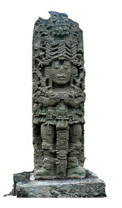 Maya carving: Statue of a Maya ruler (sorry, I forgot his name) in Copan, Honduras.