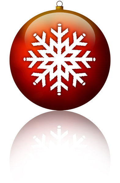 Snow Ornament: A red Christmas ornament with a snow flake.Please visit:http://www.stockxpert.com ..