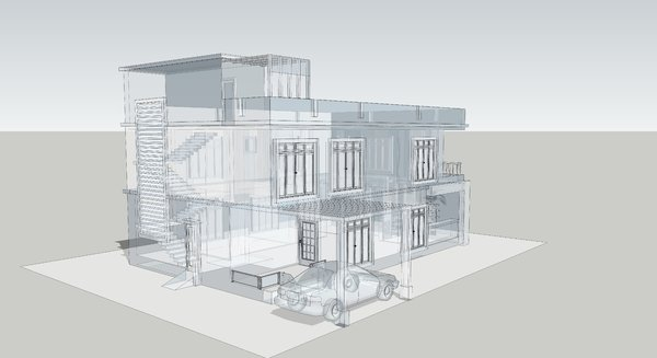 Building 3D and wireframe 3: 3D Wireframe modelling of a house