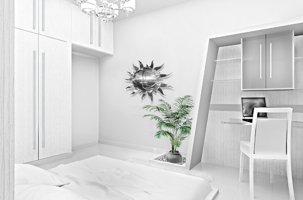 Interior Design Concept For A Bedroom With Personal Study