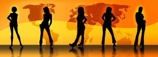 World Wide Models 2: P.S.CHECK MY COMPLETE GALLERY FOR MORE CREATIVE AND ASSORTED IMAGESFashion portrayal of model silhouettes against a world map in Orange Color tone if you like it please comment if you don't like it make sure you comment :)ThanksBarun