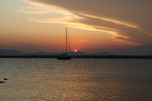 Sail away: Boat and beatiful sunset - Greece, Naxos island