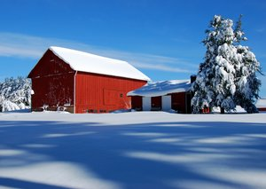 Red Barn in Snow 1: A red barn after a heavy snow fall in Great Falls, VA