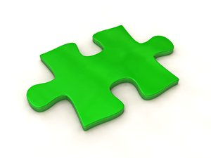 Puzzle Piece: An abstract green puzzle piece in high quality on a soft, white background.