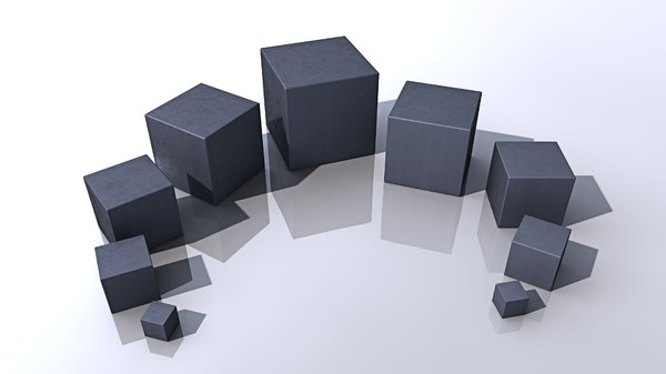 Boxes: An abstract picture of same different sized boxes in different metal materials.