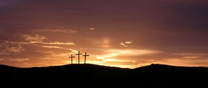 Easter Sunset: Sunset over three crosses