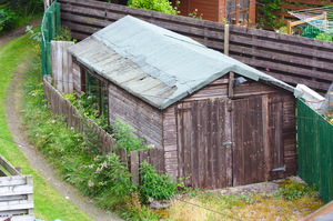 Garage/shed: Garage or shed in a domestic garden - probably not used for a car!