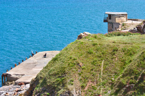 Coastal defences: World War 2 coastal defence tower/lookout position on the south coast of England, Berry Head near Brixham