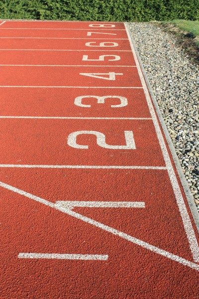 Run the race: Views of the start of an athletics track