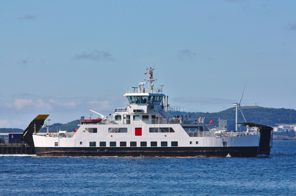 Small vehicle ferry: Views of small vehicle ferries operating in the Firth of Clyde in Scotland, carrying cars and lorries from Largs to the Isle of Cumbrae