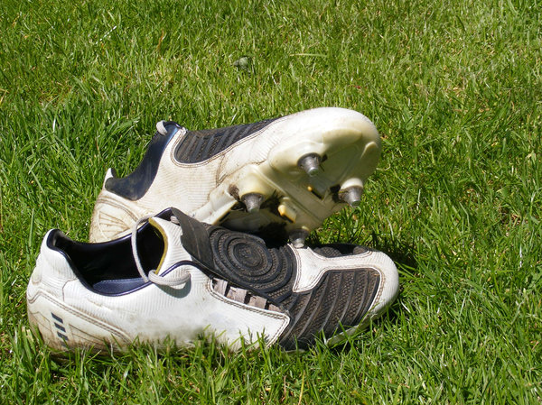Foo: Pair of football boots left after the game