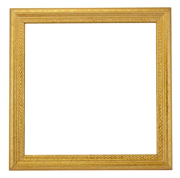 Square Gold Frame: A square gold painted ornate wooden frame with distressed effect.