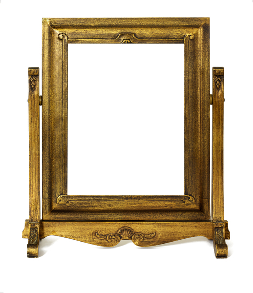 Frame without Photo: Old gold gilded frame on swivel stand.  Aprox 11