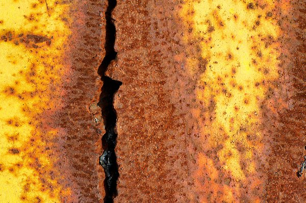 Rusted steel: Textures found on a section of a rusted steel beam.