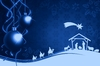 Christmas Winter Background: Christmas baubles and holy Family on a blue christmas background