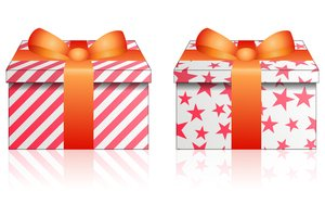 Christmas Gifts: Two Christmas gifts on a white background