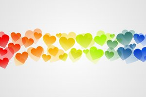 Colorful hearts: The line formed of colorful hearts