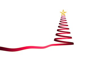 Christmas Elements - Tree 3: Ribbon christmas tree on the white background