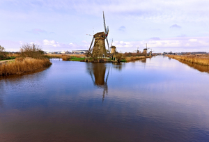 Dutch Windmills: Picture was taken in Kinderdijk, the Netherlands
