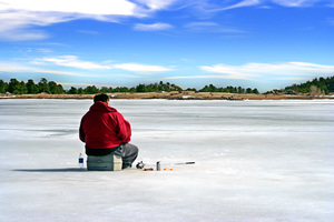 Ice Fishing Landscape: Ice Fishing on Red Feather Lake