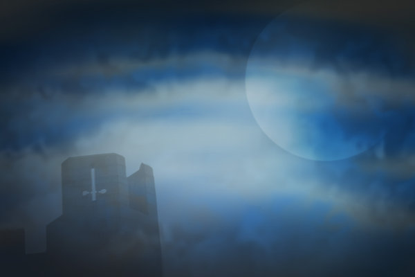 Blue Moon: Abstract backdrop with moon and castle turret. Just add your own ghost.