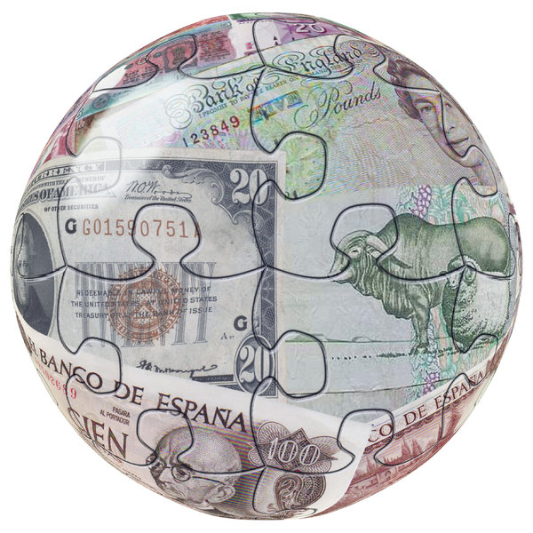 Money Globe: Globe made out of bank notes from all over. one on a black background, one on a white.
