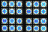 Stained glass texture: Oval windows with stained glass in the church, pattern