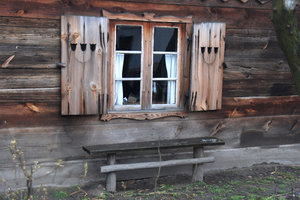Window in old cottage 1: Window with shutter-------------------------- ---Please, send me an e-mail if you want to use my photos.-------------------------- ---I like to see what becomes of one of my photos. Please send me by e-mail copy of final work or link to web site with my p