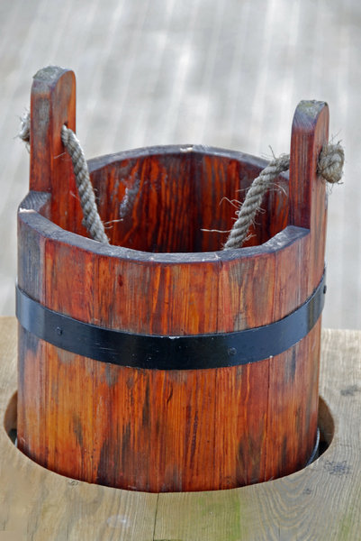 Pail on the deck of sail: Old pail on the deck old polish sail Dar Pomorza from Gdynia