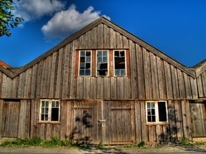 Boathouse - HDR: 300 years amd still standing (barely). Used for rowingboats mounted with small canons, the end of the house is in the water.