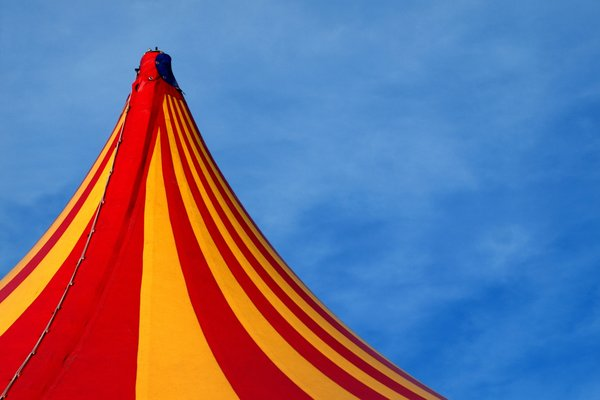 Circus tent top: Circus tent top in red and yellow.