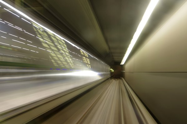 In the Subway: Driving in the front seat of the Copenhagen Metro, the subway.