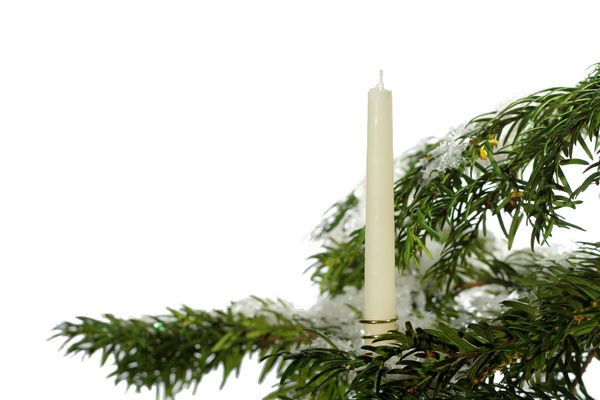 Christmas tree with candle: Christmas tree with snow and candle
