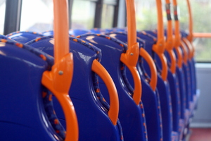 On the bus: Seats on an empty bus