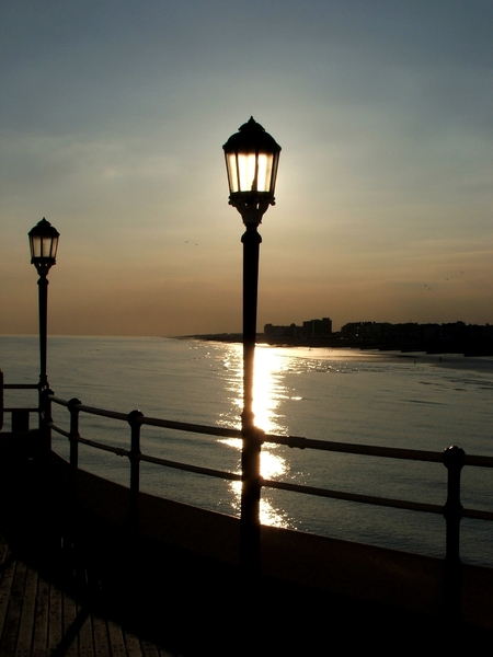 Lamp post: Pier lamp post at sunset