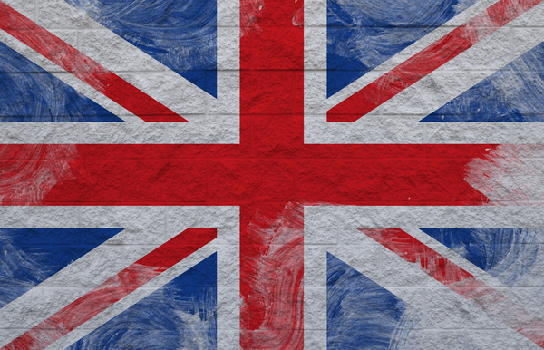 UK flag: Unite kingdom flag over wall
