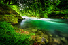 Emerald River: A natural River with clean and fresh, emerald green Water (Mangfall River, Bavaria, Germany)